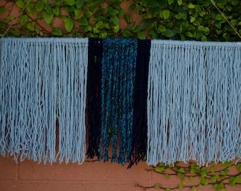 Blue Yarn Wall Hanging   Boho Wall Art   Macrame Wall Hanging   Bohemian Wall hanging Tapestry