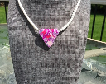 Polymer Triangle Pendant Necklace