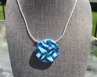 Polymer Pendant Necklace Blue Circle