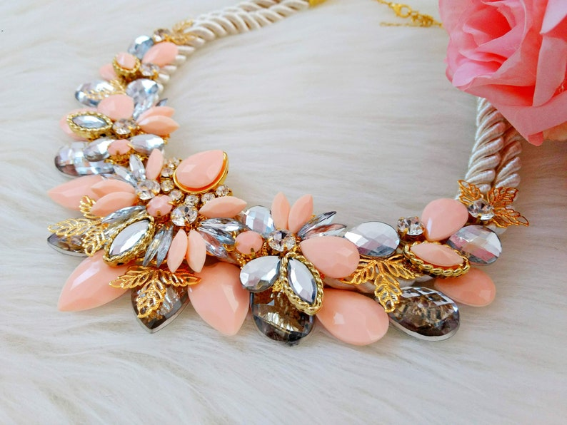 summer jewelry bridesmaid necklace Handmade bib statement necklace with acrylic gemstones in peach color weddings jewelry birthday gift