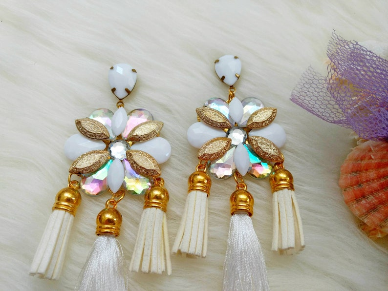 New gorgeous bib statement earrings in white color weddings summer gems bridesmaid gift gift for her bib statement earrings