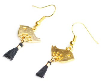 Earrings birds gold and mother's day gift black tassels