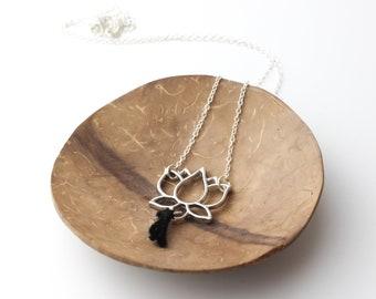 Lotus flower and black hemp tassel necklace natural woman gift idea