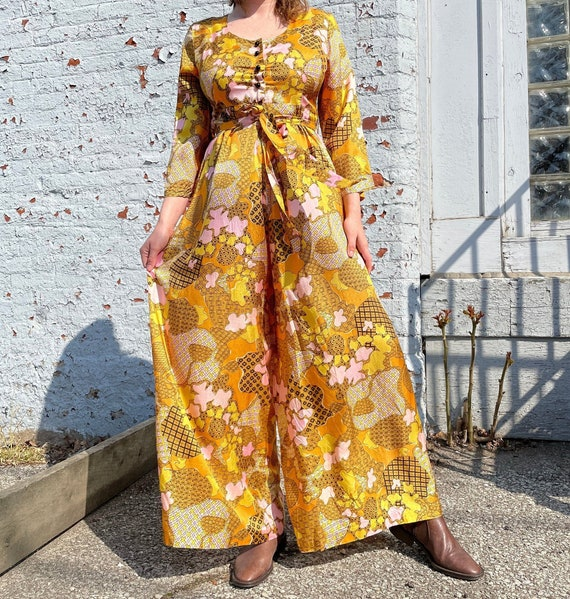 60s Morsam Abstract Print Jumpsuit