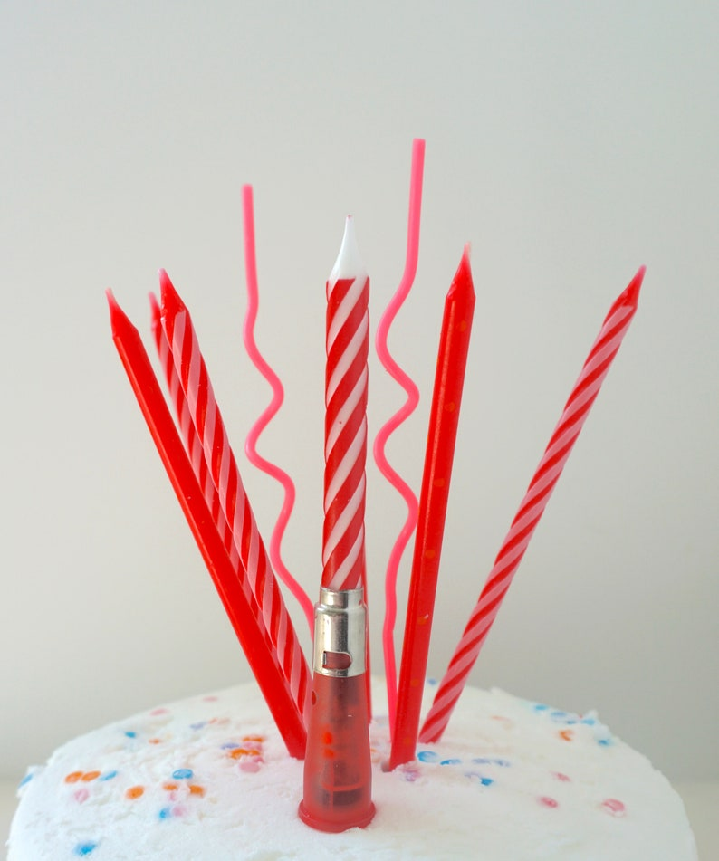 Red Birthday Candles Cake Candle