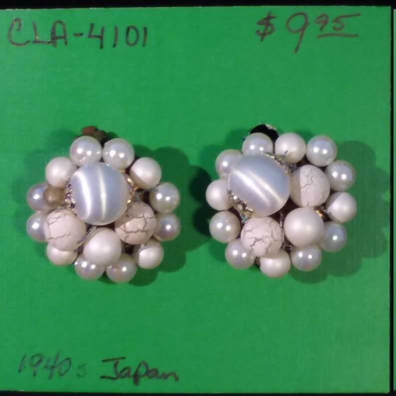 Earrings-Clip On Faux Pearl Cluster