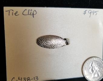 Tie Clip-Brass textured oval Pat. 2853761