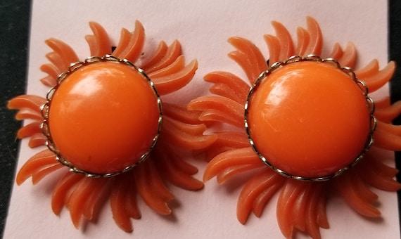 Earrings- clip on orange flower