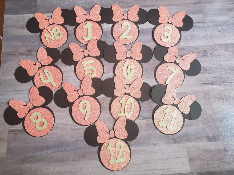 Minnie Mouse monthly baby cards baby shower gifts Disney baby