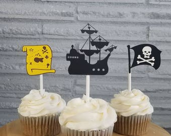 Pirate themed party, pirate birthday party, pirate ship, treasure map, pirate flag, pirate party supplies, pirate party, pirate cupcakes