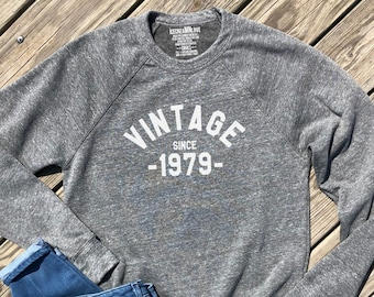40th Birthday Shirt Vintage 1979 Gifts For Men And Women Party Shirts Grey Unisex Sweatshirt