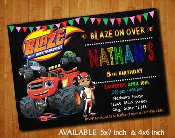 Blaze The Monster Machines Invitations Blaze The Monster Machines Birthday Party Invitation Blaze Digital File Printable