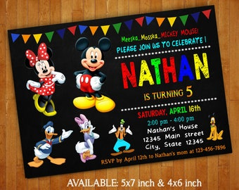 Mickey Mouse Club House Invitations / Mickey Mouse Birthday Party Invitation / Club House Mickey Mouse Digital File / Mickey Mouse Printable