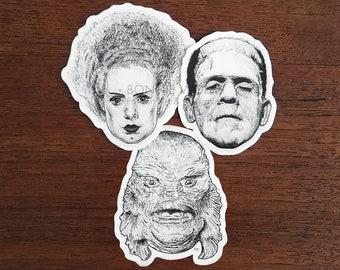 Bride, Frankenstein & Creature Sticker / Horror Stickers / Laptop Sticker / Halloween Horror Gift / Classic Monster Art / Gothic Home Decor