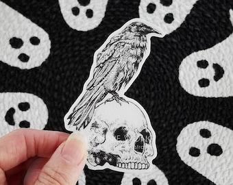 Raven Skull Sticker / Crow Sticker / Black Bird Sticker / Skull Sticker / Halloween Laptop Sticker / Bird Lover / Spooky Stickers / Goth Art