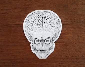 Mars Attacks Sticker / Horror Sticker / Alien Vinyl Sticker / Tim Burton Movie / Spooky Laptop Stickers / Car Decal / Sci-Fi Birthday Gift