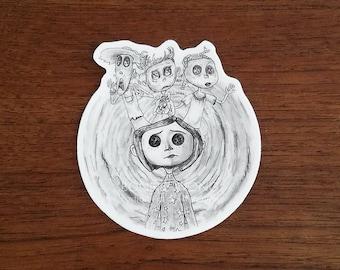 Coraline Sticker With Ghost Children / Creepy Cute Horror Sticker / Laptop Stickers / Water Bottle Vinyl Sticker / Button Eyes Doll Sticker