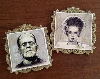 Bride & Frankenstein's Monster Print Set / Classic Monsters Art / Horror Art / Gothic Home Decor / Dark Romantic Victorian / Halloween Decor