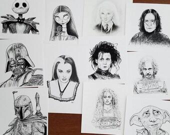SALE Pop Culture Art Prints / Jack Sally / Edward Scissorhands / Tim Burton / Luna / House Elf / Boba / Portrait Wall Art /  Birthday Gift