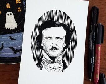 Edgar Allan Poe Art Print / Macabre Art / Gothic Home Decor / Halloween Art / Book Lover Gift / Nevermore Poem / Goth Decor / Horror Artwork