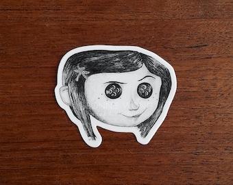 Coraline Sticker / Creepy Cute Horror Sticker / Laptop Sticker / Witchy Sticker / Planner Sticker Art / Die Cut Vinyl Sticker / Gift For Her