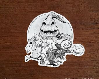Lock Shock Barrel Sticker / Halloween Sticker / Witch Devil Skeleton Sticker / Laptop Sticker / Trick Or Treat Sticker / Halloween Artwork