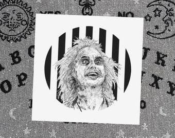 Beetlejuice Art Print / Ghost With The Most / Horror Wall Art / Halloween Decor / Tim Burton Artwork / Gothic Home Decor / Spooky Movie Art