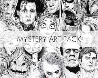 Mystery Art Pack / Pop Culture Geek Art Gift / Fan Art Prints / Vinyl Decals / Cute Stickers / Surprise Wall Art Decor / Birthday Gift Treat