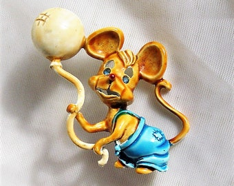 Vintage Enamel Mouse with Balloon Pin Brooch