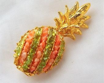 Vintage Gold Tone Coral Peridot Pineapple Pin Brooch