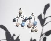 Mobile Asymmetrical Statement Earrings - Abstract Geometric Shapes Earrings - Wire Mobile Earrings - OTTO EARRINGS in Blue.