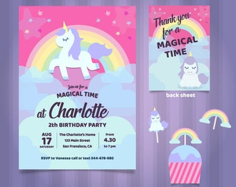 Unicorn Invitation, Birthday Invitation, OFFER!!