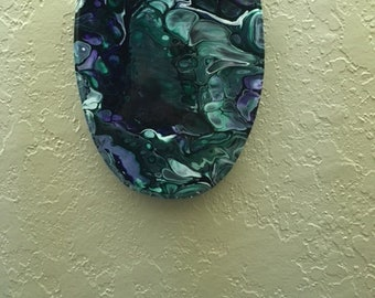 acrylic flow painting on wood plaque