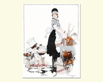 Rene Vincent Cooking Cooks Chefs Art Deco Mode Fashion Lobsters Kitchen Home Style Art Illustration Picture Print