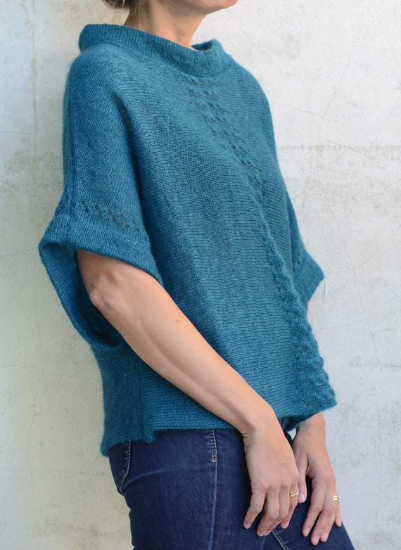 3546579b06 Blue Green Sweater Oversized Sweater for Women Loose Knit