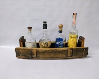 Bourbon barrel bottle display, bottle display, whiskey bottle tray