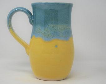 Handmade Ceramic Yellow/Teal Hourglass Mug 18 oz