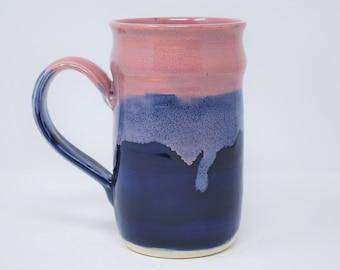 Handmade Ceramic Pink/Blue Stein 21 oz
