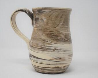 Handmade Ceramic Dark Marbled Mug 14 oz