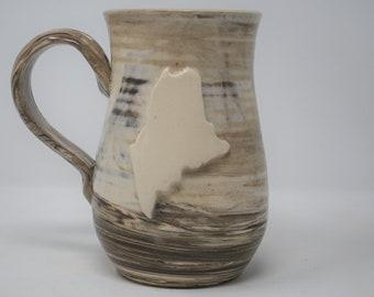 Handmade Ceramic Dark Marbled Maine Mug 17 oz