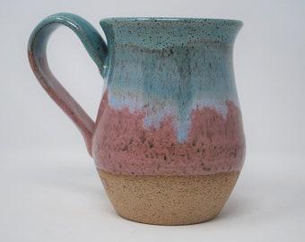 Handmade Ceramic Pink/Teal/Exposed Clay Hourglass Mug 18 oz