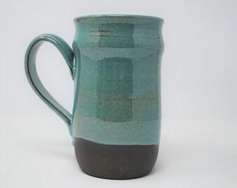 Handmade Ceramic Teal/Exposed Clay Stein 20 oz