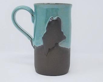 Handmade Ceramic Teal/Exposed Clay Maine Mug 14 oz