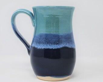 Handmade Ceramic Blue/Teal Hourglass Mug 16 oz
