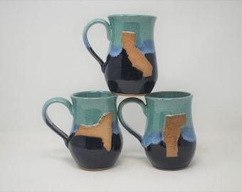 Teal/Blue State Mugs- Set of 3- MADE TO ORDER