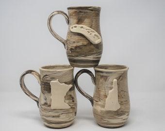 Marbled State Mug- Set of 3- MADE TO ORDER
