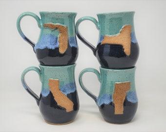 Teal/Blue State Mugs- Set of 4- MADE TO ORDER