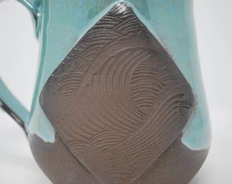 Handmade Ceramic Teal/Exposed Clay Wave Mug 17 oz