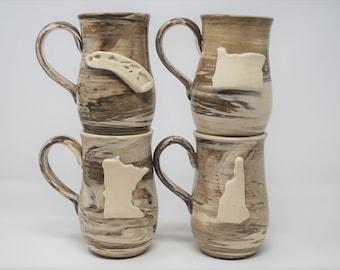 Marbled State Mug- Set of 4- MADE TO ORDER