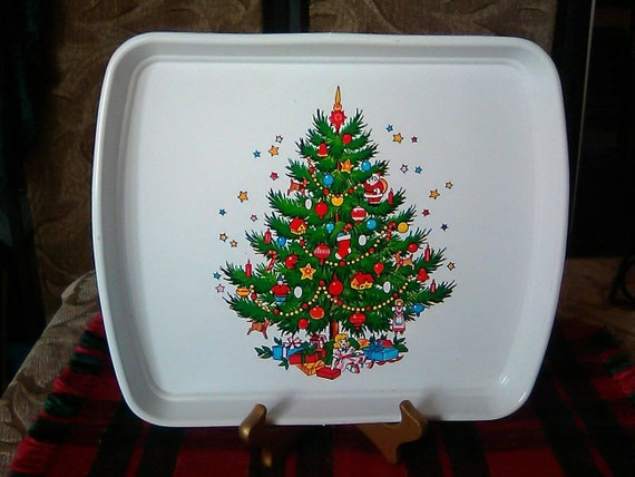 Christmas serving tray Retro kitschy fun in the classic early 1980's